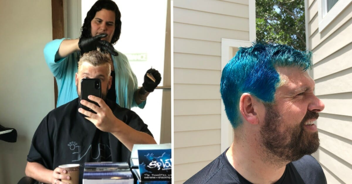 Dad's decision to dye hair blue ends up raising $12,500 for immigrant legal aid provider