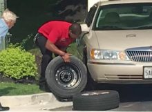 Chick-fil-A manager jumps up to change flat tire for elderly veteran customer