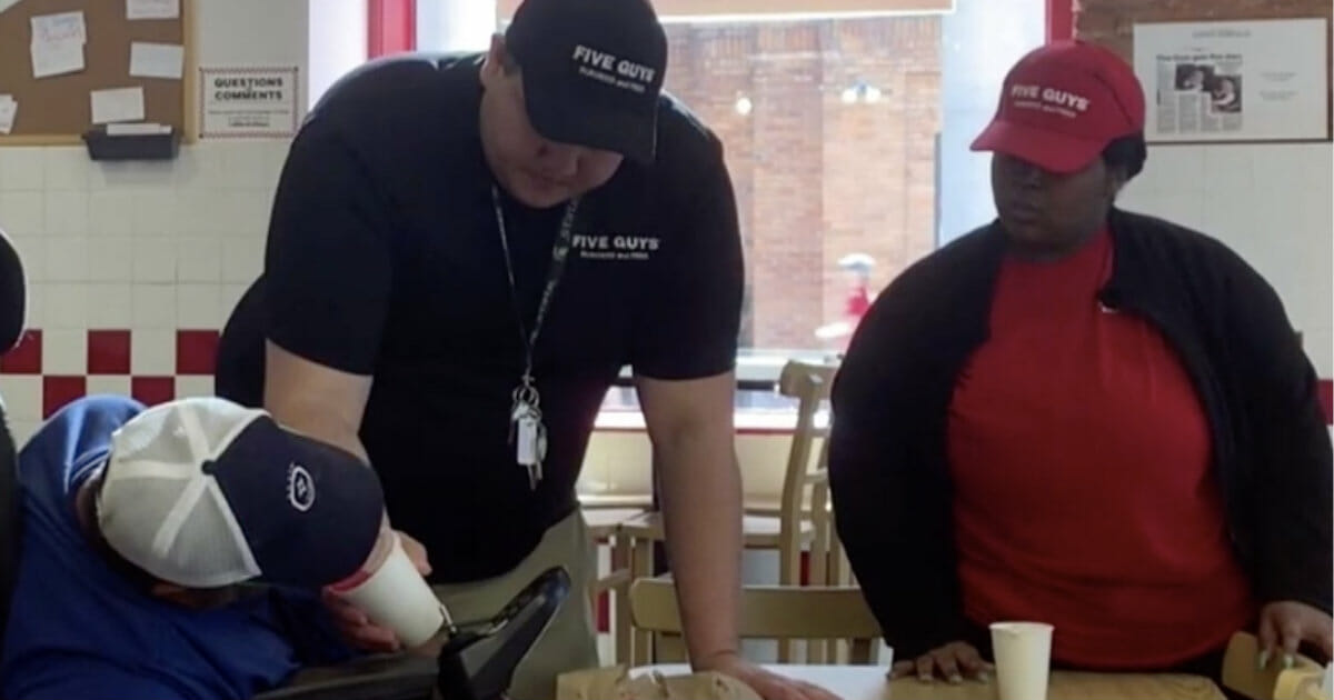 Five Guys staff sees a customer too weak to order—so they feed him a free meal