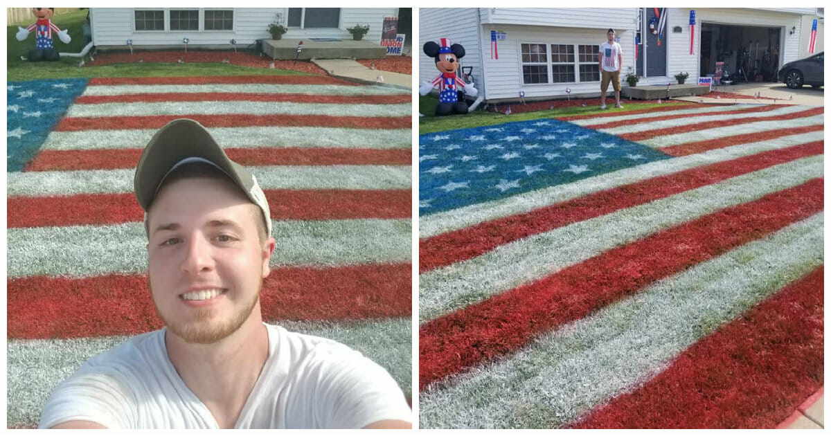 Friends paint giant American flag to honor and raise money for the troops