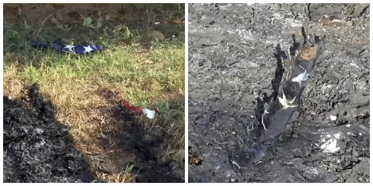 Police are searching for vandals who burnt flags in cemetery's veteran memorial