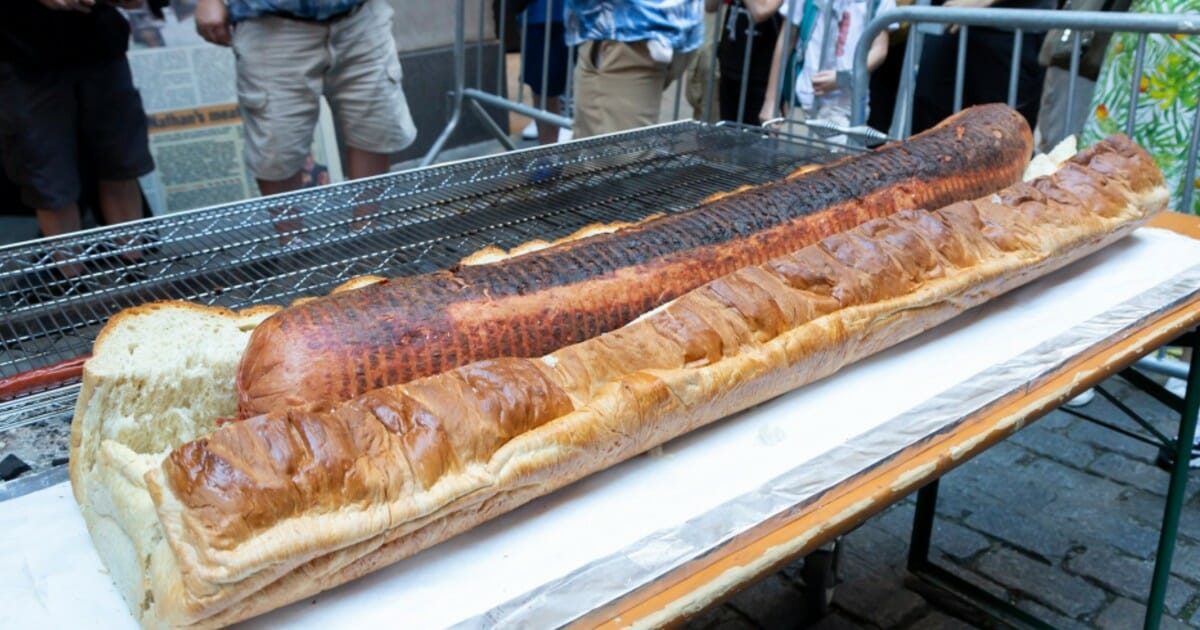 You're going to need a lot of ketchup for this 66-pound hot dog
