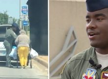 Airman drives elderly woman home after he sees her struggling to carry groceries in the heat