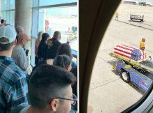 Airport falls silent as Vietnam war pilot's remains return home on flight flown by his son