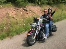 85-year-old woman takes a motorcycle ride with her grandson after completing chemotherapy