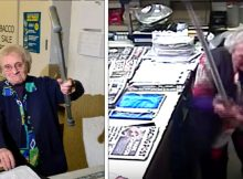 Armed robber enters family store demanding cash – CCTV catches 82-yr-old grandma fighting him off