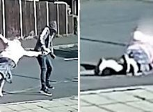 Police hunt thug caught pulling 79-year-old woman to floor and dragging her along sidewalk
