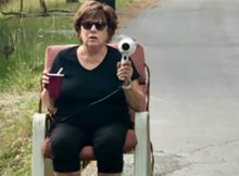 Ticked off grandma teaches speeding drivers a lesson armed with only a hair dryer and a stern expression