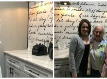 Woman surprises her grandma by turning beloved family recipe into her kitchen backsplash