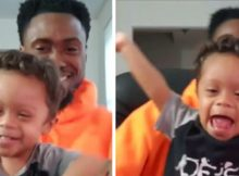 2-year-old boy with Down syndrome celebrates 11 months cancer free with dad – let's hear it for them