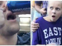 Gaze in horror as this college bro chugs a beer through his nose