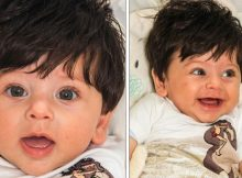 """Baby boy dubbed """"Mowgli"""" after being born with two inches of jet black hair"""