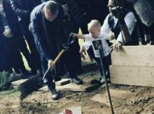 Heartbreaking moment 17-month-old toddler shouts 'daddy' as he helps bury father who was knifed to death
