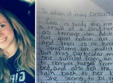 Mom writes hilarious note to explain why her teenager is late for school