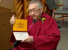 91-year-old receives high school diploma after leaving school to save family farm