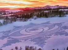 60-year-old man creates jaw-dropping art by running around 25 miles in freshly laid snow