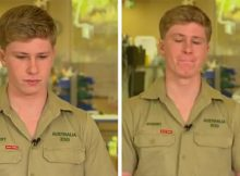 Robert Irwin struggles to fight back tears while discussing the impact of Australian bushfires