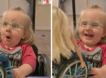 2-year-old with spina bifida experiences pure joy after receiving Barbie in wheelchair
