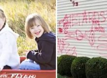 Thugs spray-paint 'Retards' on family's home after they adopt two little girls with Down syndrome