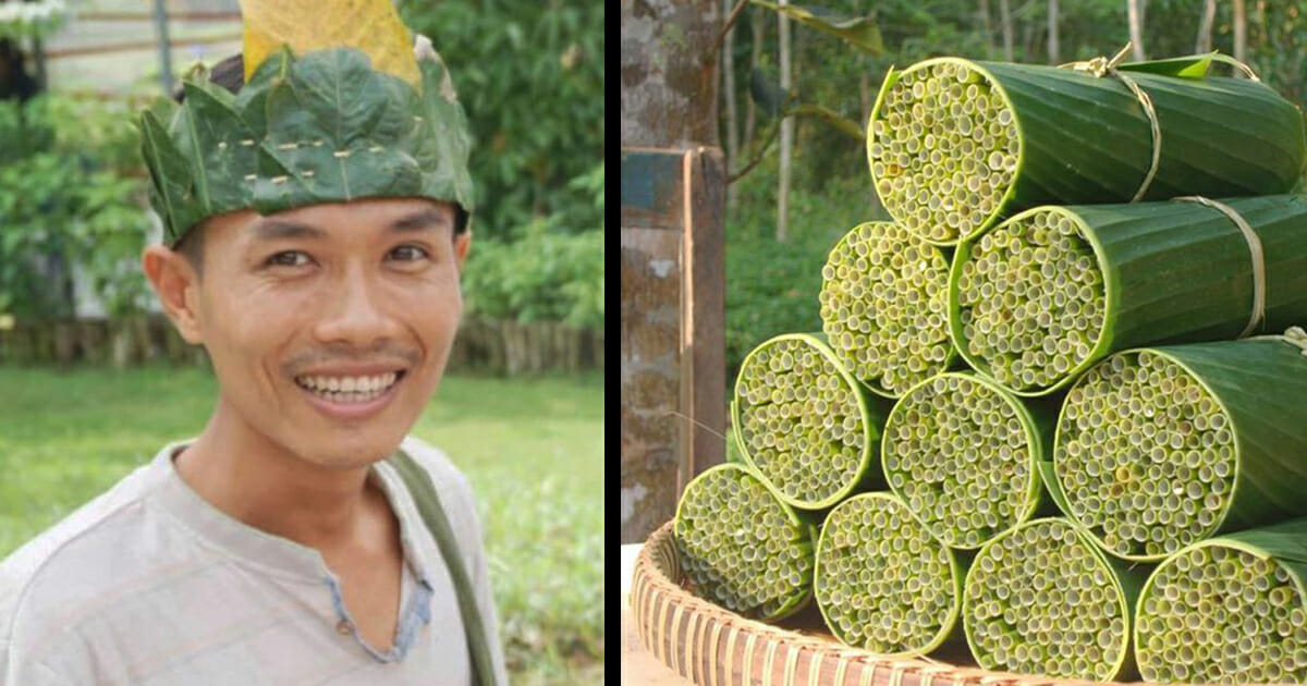 Vietnamese man makes biodegradable straws from wild grass to solve the world's plastic problem