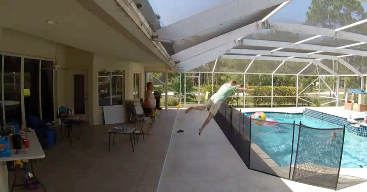 WATCH: Dad dives over 4-foot pool fence to save son from drowning