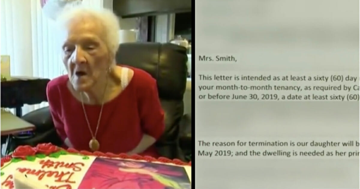 102-year-old widow handed eviction notice on her birthday, left with nowhere to live