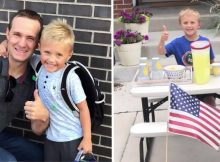 6-year-old fulfills promise to late dad–sets up lemonade stand to earn money for 'date night' with mom