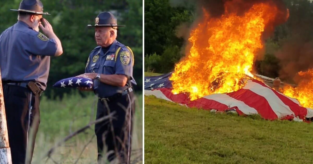 Dozens of veterans gather in field to watch 25,000 American flags burn