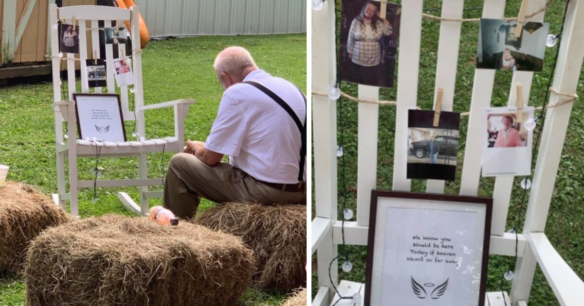 Heartbroken grandfather eats alone next to late wife's memorial at granddaughter's wedding