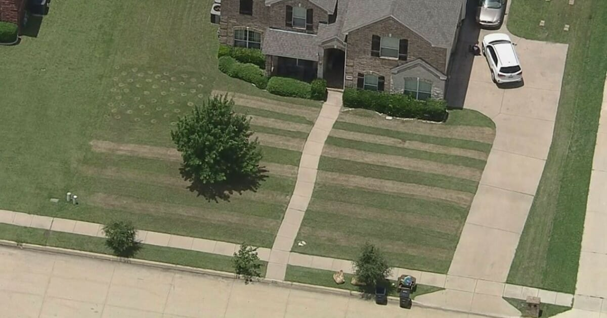 Teen spends 4 hours mowing a giant American flag into front yard to honor fallen soldier