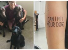"""Socially anxious dog lover gets """"Can I Pet Your Dog?"""" tattoo so he doesn't have to keep asking"""