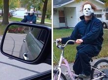 "Wife drives home and catches husband ""terrorizing"" the neighborhood dressed as Michael Myers"