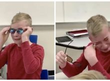 Boy breaks down in tears when principal lets him see colors for the first time