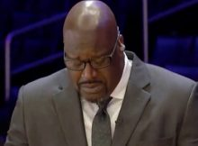 Shaquille O'Neal breaks down in tears during emotional speech about 'brother' Kobe Bryant