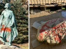 Plymouth Rock among several iconic sites vandalized with red spray paint