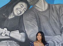 Kobe Bryant's eldest daughter poses in front of mural honoring of her dad and late sister Gigi
